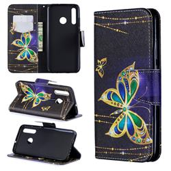 Golden Shining Butterfly Leather Wallet Case for Huawei P Smart+ (2019)