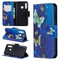 Golden Butterflies Leather Wallet Case for Huawei P Smart+ (2019)