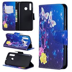 Yellow Flower Butterfly Leather Wallet Case for Huawei P Smart+ (2019)