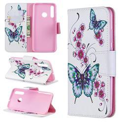 Peach Butterflies Leather Wallet Case for Huawei P Smart+ (2019)