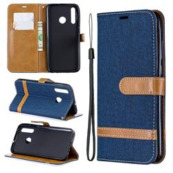 Jeans Cowboy Denim Leather Wallet Case for Huawei P Smart+ (2019) - Dark Blue