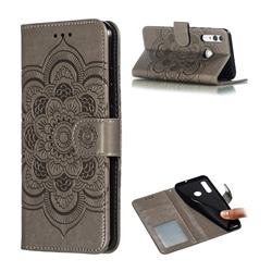 Intricate Embossing Datura Solar Leather Wallet Case for Huawei P Smart+ (2019) - Gray
