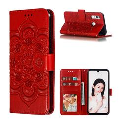 Intricate Embossing Datura Solar Leather Wallet Case for Huawei P Smart+ (2019) - Red