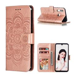 Intricate Embossing Datura Solar Leather Wallet Case for Huawei P Smart+ (2019) - Rose Gold