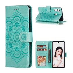 Intricate Embossing Datura Solar Leather Wallet Case for Huawei P Smart+ (2019) - Green