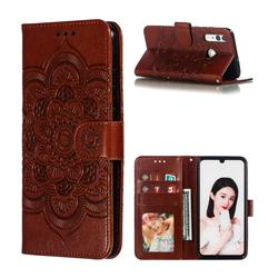 Intricate Embossing Datura Solar Leather Wallet Case for Huawei P Smart+ (2019) - Brown