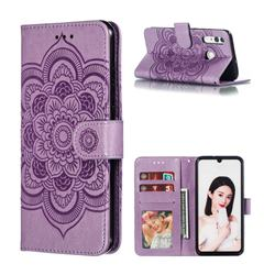 Intricate Embossing Datura Solar Leather Wallet Case for Huawei P Smart+ (2019) - Purple