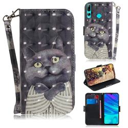 Cat Embrace 3D Painted Leather Wallet Phone Case for Huawei P Smart+ (2019)