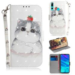 Cute Tomato Cat 3D Painted Leather Wallet Phone Case for Huawei P Smart+ (2019)