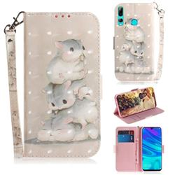 Three Squirrels 3D Painted Leather Wallet Phone Case for Huawei P Smart+ (2019)
