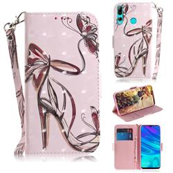 Butterfly High Heels 3D Painted Leather Wallet Phone Case for Huawei P Smart+ (2019)