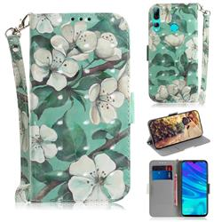 Watercolor Flower 3D Painted Leather Wallet Phone Case for Huawei P Smart+ (2019)