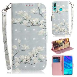 Magnolia Flower 3D Painted Leather Wallet Phone Case for Huawei P Smart+ (2019)