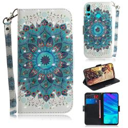 Peacock Mandala 3D Painted Leather Wallet Phone Case for Huawei P Smart+ (2019)
