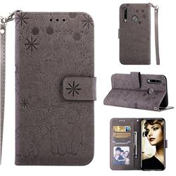 Embossing Fireworks Elephant Leather Wallet Case for Huawei P Smart+ (2019) - Gray