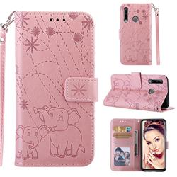 Embossing Fireworks Elephant Leather Wallet Case for Huawei P Smart+ (2019) - Rose Gold