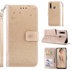 Embossing Fireworks Elephant Leather Wallet Case for Huawei P Smart+ (2019) - Golden