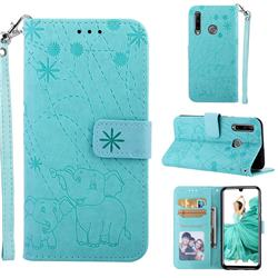 Embossing Fireworks Elephant Leather Wallet Case for Huawei P Smart+ (2019) - Green