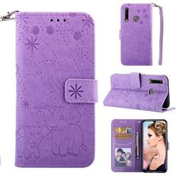 Embossing Fireworks Elephant Leather Wallet Case for Huawei P Smart+ (2019) - Purple