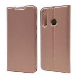 Ultra Slim Card Magnetic Automatic Suction Leather Wallet Case for Huawei P Smart+ (2019) - Rose Gold
