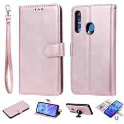 Retro Greek Detachable Magnetic PU Leather Wallet Phone Case for Huawei P Smart+ (2019) - Rose Gold