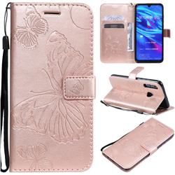Embossing 3D Butterfly Leather Wallet Case for Huawei P Smart+ (2019) - Rose Gold