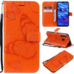 Embossing 3D Butterfly Leather Wallet Case for Huawei P Smart+ (2019) - Orange