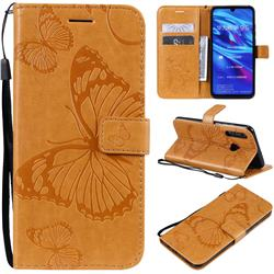 Embossing 3D Butterfly Leather Wallet Case for Huawei P Smart+ (2019) - Yellow