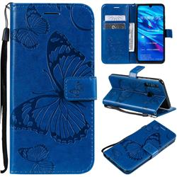 Embossing 3D Butterfly Leather Wallet Case for Huawei P Smart+ (2019) - Blue