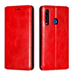 Retro Slim Magnetic Crazy Horse PU Leather Wallet Case for Huawei P Smart+ (2019) - Red