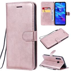 Retro Greek Classic Smooth PU Leather Wallet Phone Case for Huawei P Smart+ (2019) - Rose Gold
