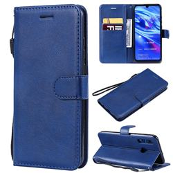 Retro Greek Classic Smooth PU Leather Wallet Phone Case for Huawei P Smart+ (2019) - Blue