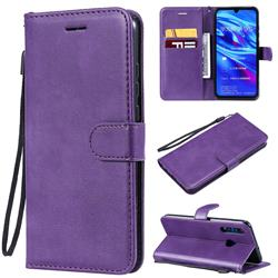 Retro Greek Classic Smooth PU Leather Wallet Phone Case for Huawei P Smart+ (2019) - Purple