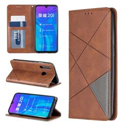 Prismatic Slim Magnetic Sucking Stitching Wallet Flip Cover for Huawei P Smart+ (2019) - Brown