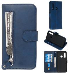 Retro Luxury Zipper Leather Phone Wallet Case for Huawei P Smart+ (2019) - Blue