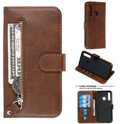 Retro Luxury Zipper Leather Phone Wallet Case for Huawei P Smart+ (2019) - Brown