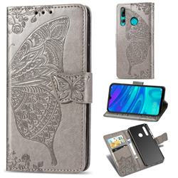 Embossing Mandala Flower Butterfly Leather Wallet Case for Huawei P Smart+ (2019) - Gray