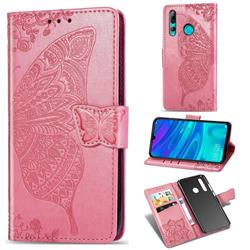 Embossing Mandala Flower Butterfly Leather Wallet Case for Huawei P Smart+ (2019) - Pink