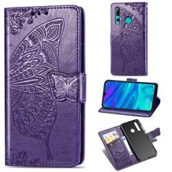 Embossing Mandala Flower Butterfly Leather Wallet Case for Huawei P Smart+ (2019) - Dark Purple