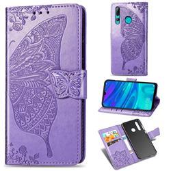 Embossing Mandala Flower Butterfly Leather Wallet Case for Huawei P Smart+ (2019) - Light Purple