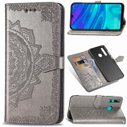 Embossing Imprint Mandala Flower Leather Wallet Case for Huawei P Smart+ (2019) - Gray