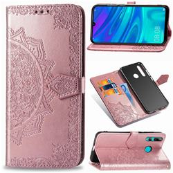 Embossing Imprint Mandala Flower Leather Wallet Case for Huawei P Smart+ (2019) - Rose Gold