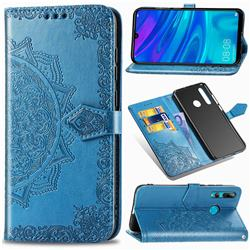 Embossing Imprint Mandala Flower Leather Wallet Case for Huawei P Smart+ (2019) - Blue