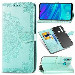 Embossing Imprint Mandala Flower Leather Wallet Case for Huawei P Smart+ (2019) - Green