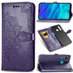 Embossing Imprint Mandala Flower Leather Wallet Case for Huawei P Smart+ (2019) - Purple
