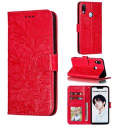 Intricate Embossing Lace Jasmine Flower Leather Wallet Case for Huawei P Smart+ (2019) - Red