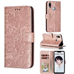 Intricate Embossing Lace Jasmine Flower Leather Wallet Case for Huawei P Smart+ (2019) - Rose Gold