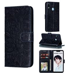 Intricate Embossing Lace Jasmine Flower Leather Wallet Case for Huawei P Smart+ (2019) - Dark Blue