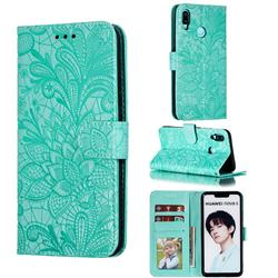 Intricate Embossing Lace Jasmine Flower Leather Wallet Case for Huawei P Smart+ (2019) - Green