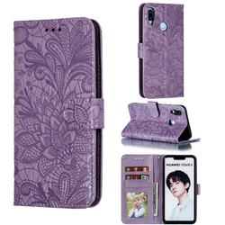 Intricate Embossing Lace Jasmine Flower Leather Wallet Case for Huawei P Smart+ (2019) - Purple